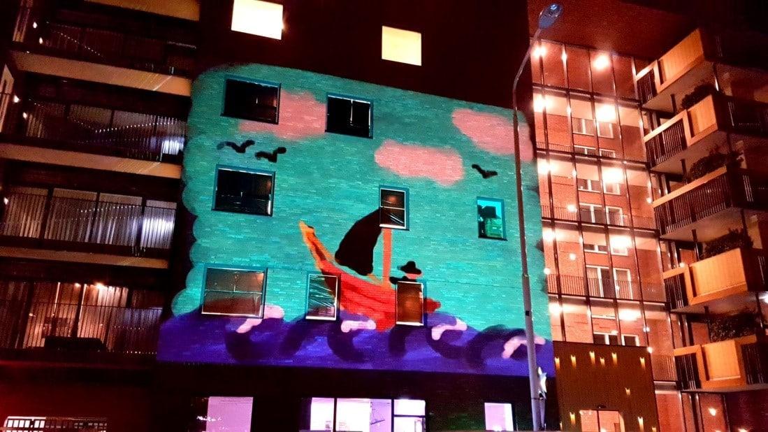 videoprojectie op stadhuis Zwolle